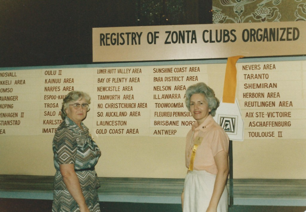 1978 - Beverley at Convention with the list of Clubs charted in D16 during her Biennium as Governor