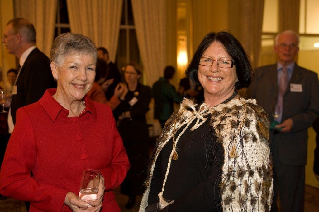 2008* - D16 Governor Lynette Grave with Susan Satyanand, wife of GG at Wellington Club's 2008 Science Award at Government House. Wearing the Kakahu.
