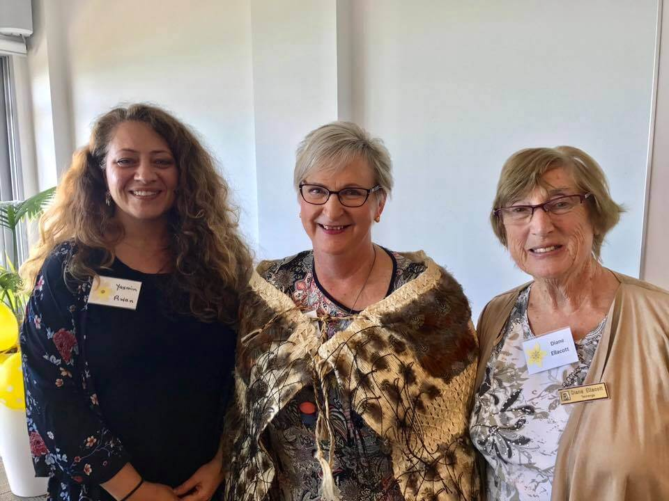 D16 Governor, Souella Cumming with charter member Dianne and new member Yasmin of Zonta Club of Tauranga at their 30th birthday celebrations