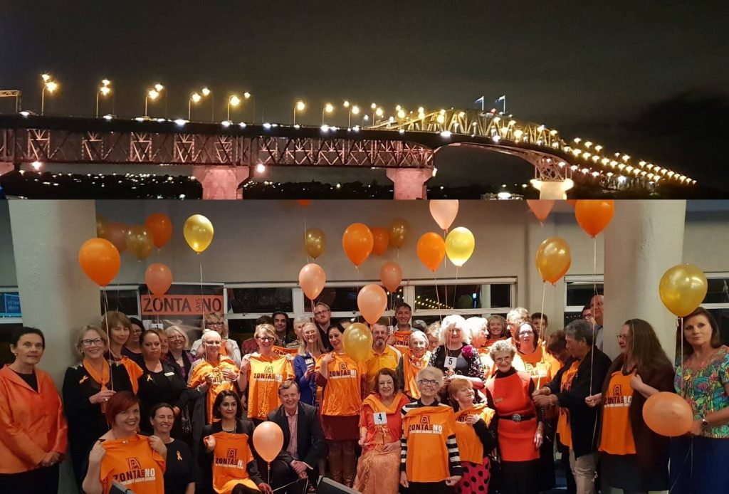 Zonta D16 Zonta Says No! Auckland Harbour Bridge lit up Orange!